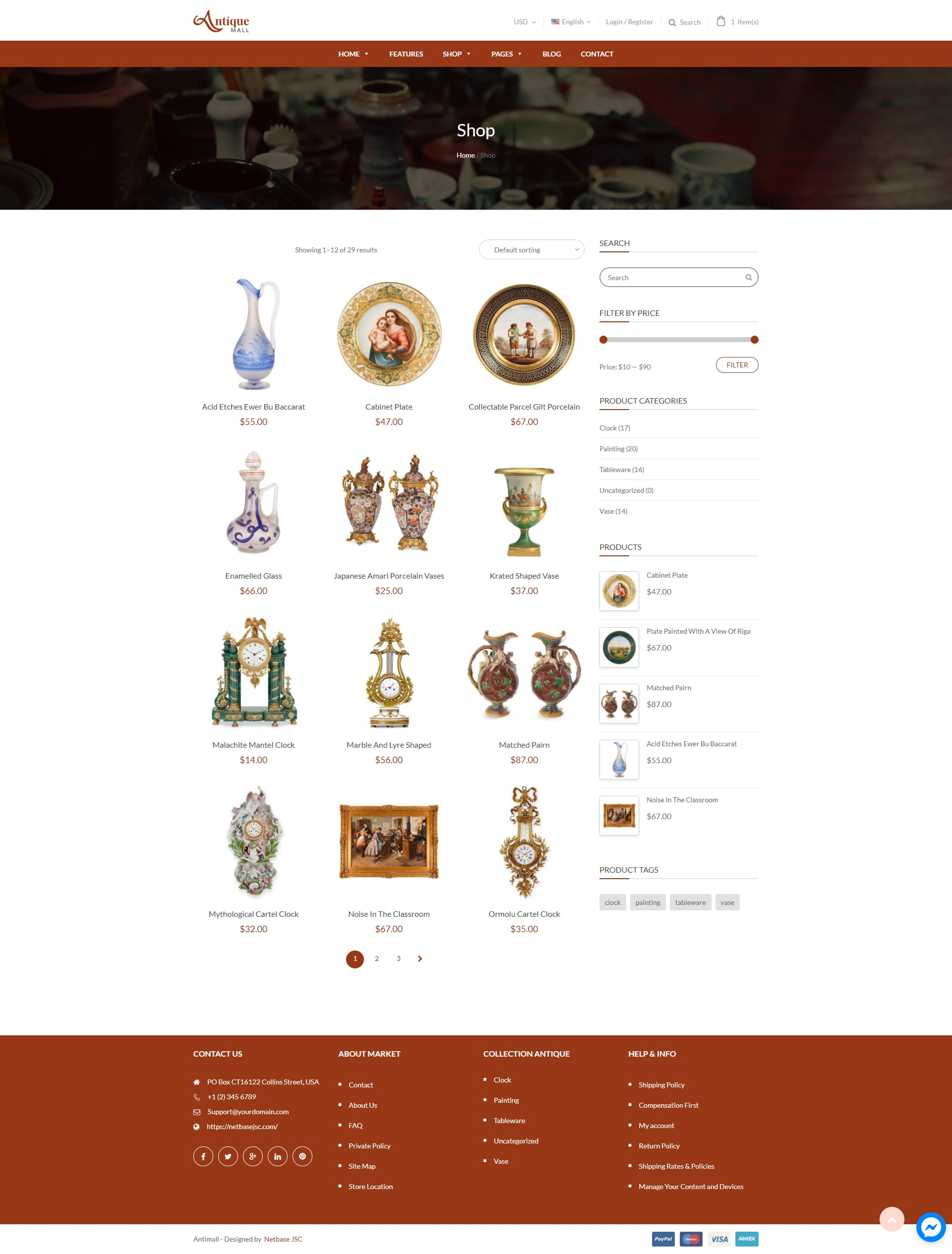 Collectible onlineShop template